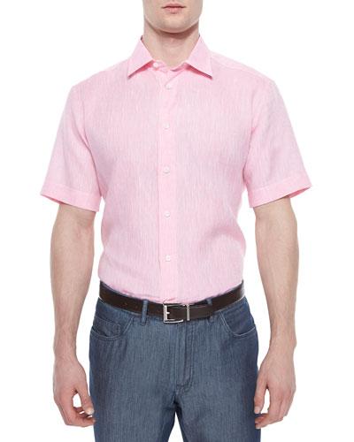 Short-Sleeve Linen Shirt, Pink