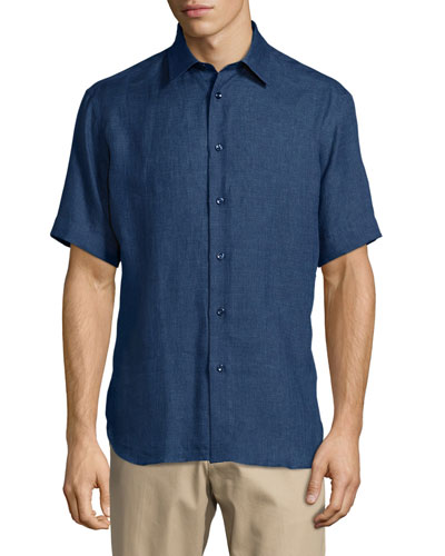 Short-Sleeve Linen Shirt, Navy
