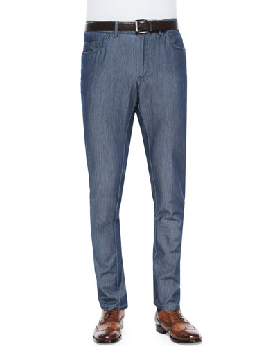 Five-Pocket Silk-Cotton Denim Pants, Charcoal