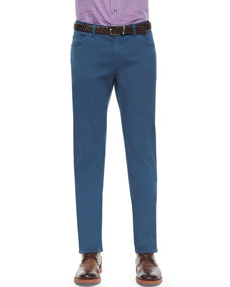 Brioni Five Pocket Poplin Stretch Trousers Dark Gray