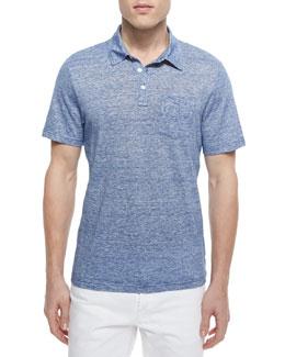 Fine-Stripe Short-Sleeve Polo, Tidal