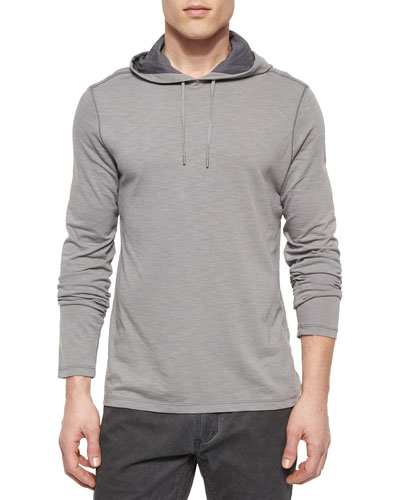 Space-Dyed Pullover Hoodie, Dark Gray