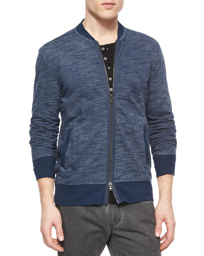Cotton-Blend Bomber Jacket, Blue