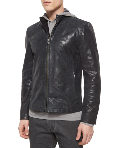 Leather Moto Racer Jacket, Black