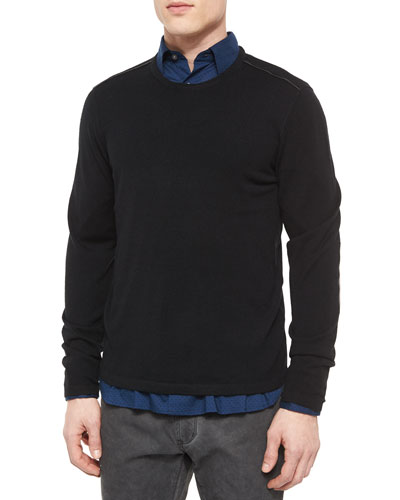 Leather-Trimmed Crewneck Sweater, Black