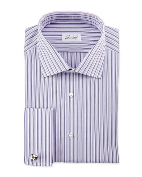 Brioni bold stripe french cuff dress shirt purple for Purple french cuff dress shirt