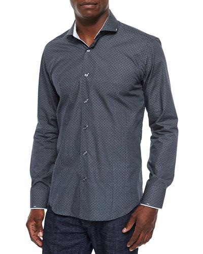 Geometric-Print Woven Sport Shirt, Black