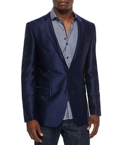 Solid Two-Button Sport Coat, Navy