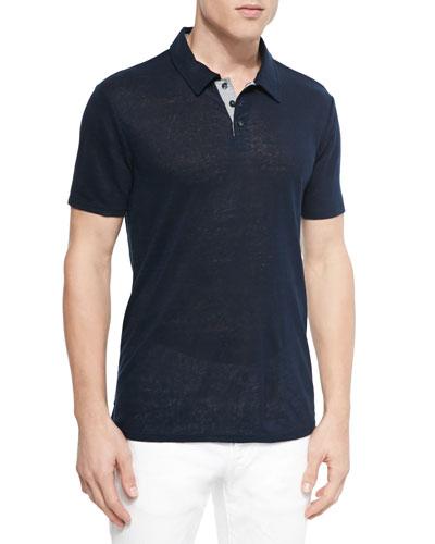 Linen-Knit Polo, Navy