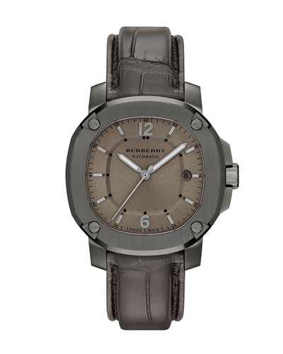 43mm Automatic Watch with Alligator Strap, Smoked Gray