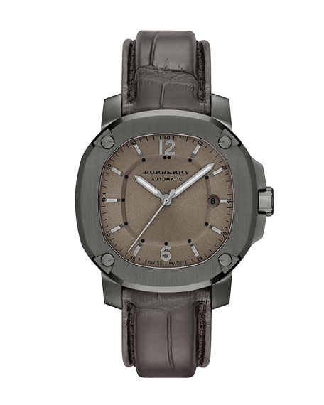 Burberry 43mm Automatic Watch with Alligator Strap, Smoked
