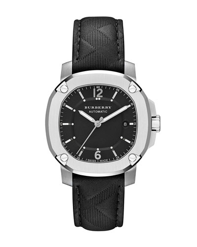 43mm Automatic Watch with Check Embossed Strap, Black