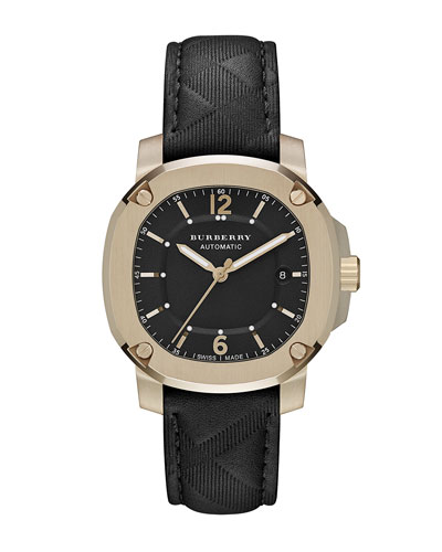 Burberry 43mm Trench Gold-Plated Watch