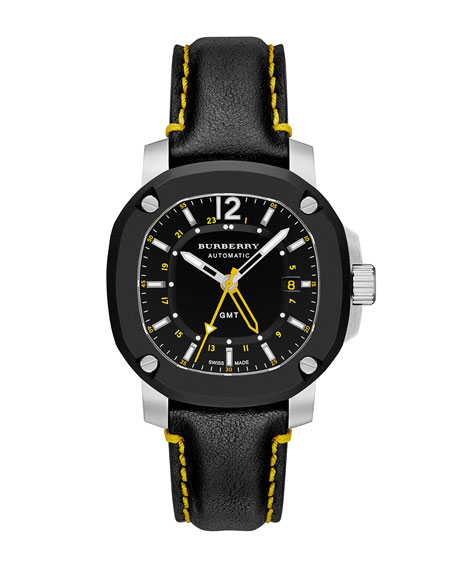 Burberry 43mm Automatic Watch with Yellow Accents