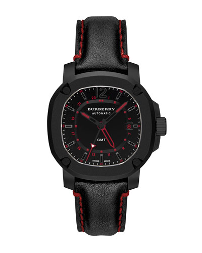 43mm Automatic GMT Watch with Red Accents