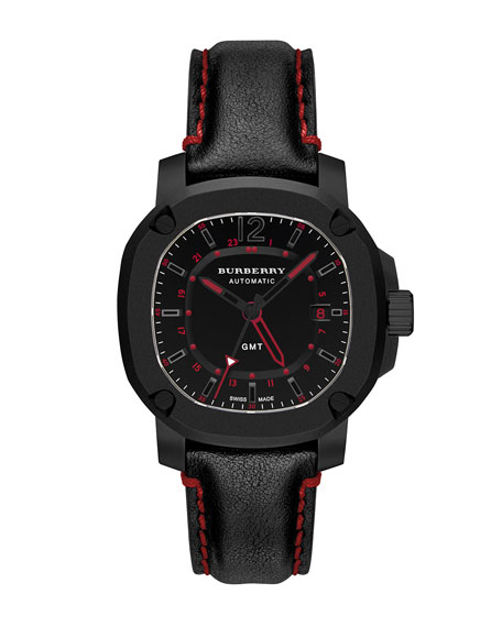 Burberry 43mm Automatic GMT Watch with Red Accents
