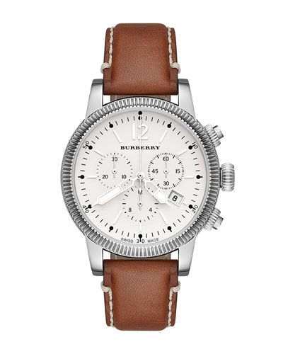 42mm Leather-Strap Chrono Watch