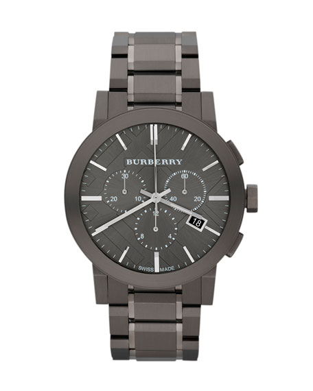 Burberry 42mm Check-Dial Chrono Watch