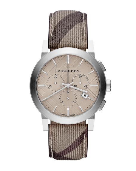 Burberry 42mm Check-Strap Chrono Watch