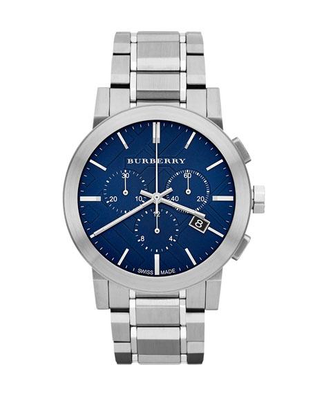 BurberryCheck-Dial Chrono Watch, Blue