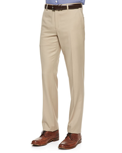 Anthony Wool-Gabardine Pants, Tan