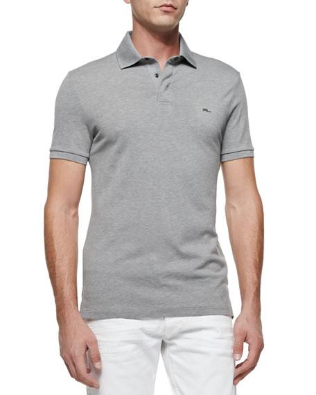 Mesh Knit Polo Shirt, Dark Gray