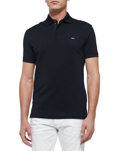 Mesh Knit Polo Shirt, Navy