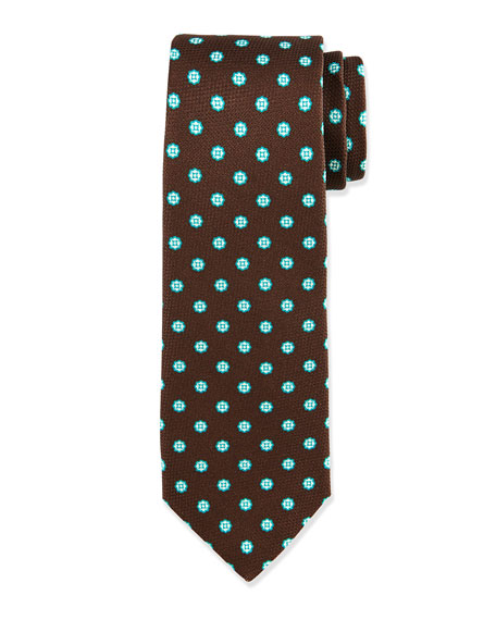 Kiton Grenadine Square Medallion Neats Tie, Brown/Turquoise