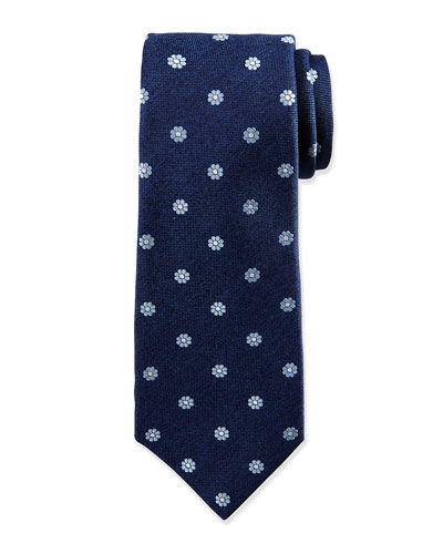 Flower Pattern Neat Silk Tie, Navy/Light Blue