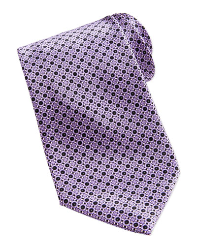 Neat Flower Pattern Silk Tie, Purple