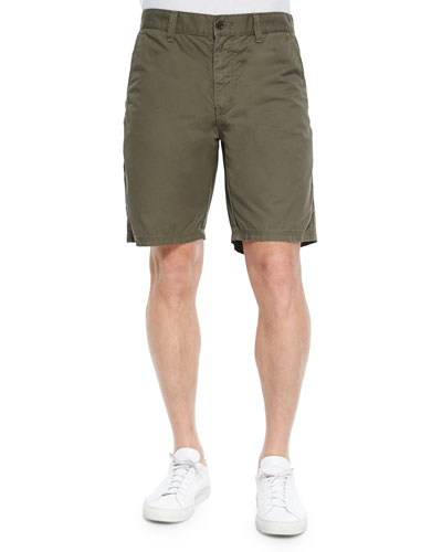 Triple-Needle Cotton Shorts, Olive