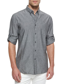 Solid Roll-Tab Woven Shirt, Gray