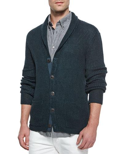 Shawl-Collar Knit Cardigan, Dark Gray