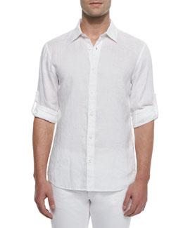 Linen Roll-Tab Shirt, White