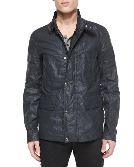 Belstaff Gladstone Coated Zip-Up Jacket, Dark Gray