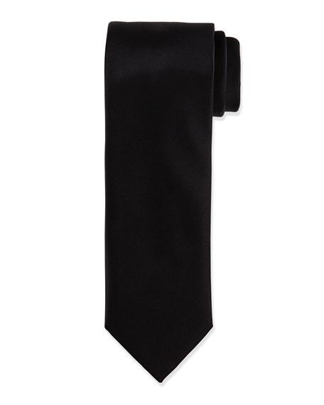 Brioni Solid Silk Satin Tie, Black