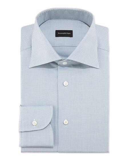 Woven Textured Microcheck Dress Shirt, Aqua