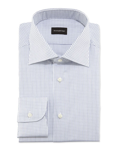 Woven Graph Check Dress Shirt, Navy