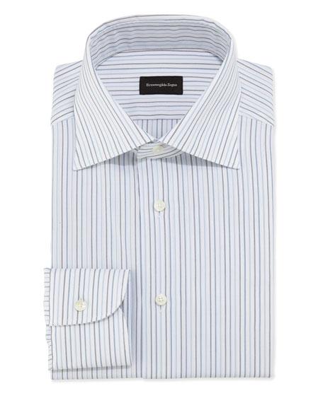 Ermenegildo Zegna Woven Pinstripe Dress Shirt, Blue/White