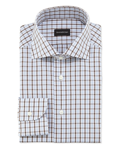 Woven Bold Check Dress Shirt, Blue/Brown