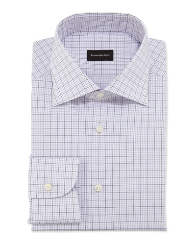 Woven Graph Check Dress Shirt, Purple