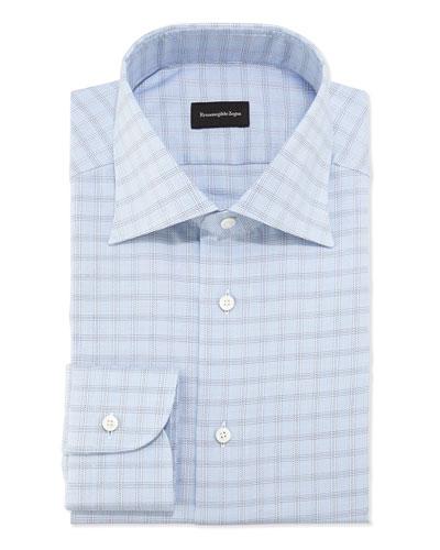 Woven Textured Box Check Dress Shirt, Blue