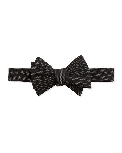 Pindot Pattern Silk Bow Tie, Black