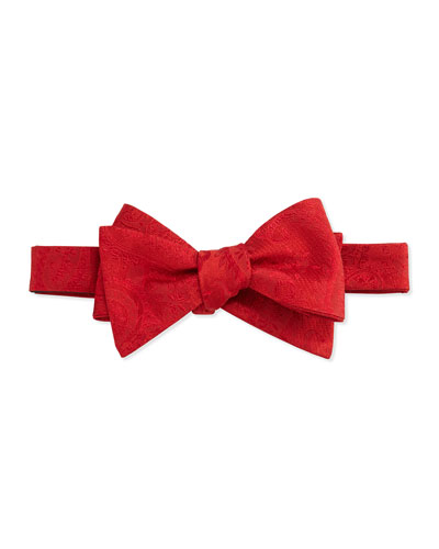 Solid Paisley Pattern Bow Tie, Red