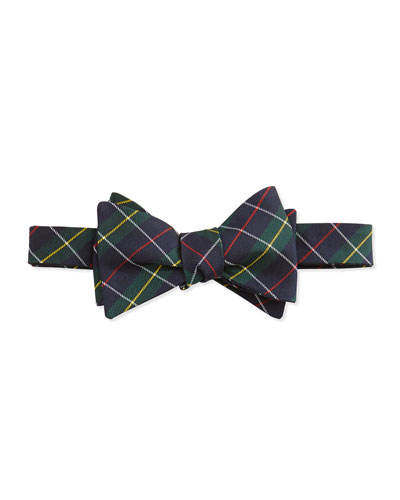 Tartan Pattern Silk Bow Tie, Green