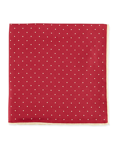 Dot-Print Pocket Square, Burgundy