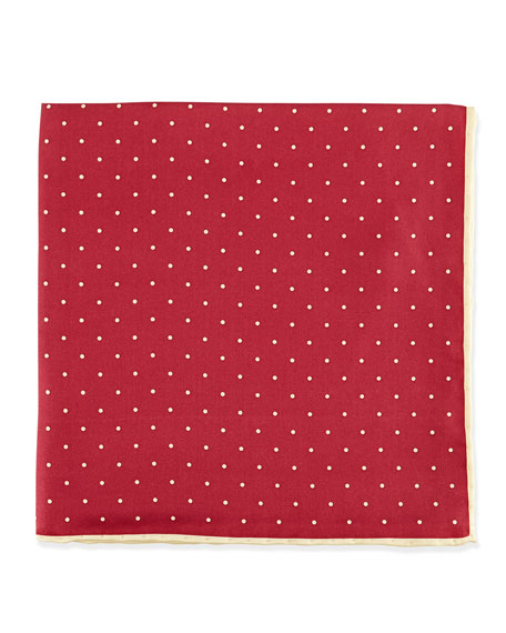 Neiman Marcus Dot-Print Pocket Square, Burgundy