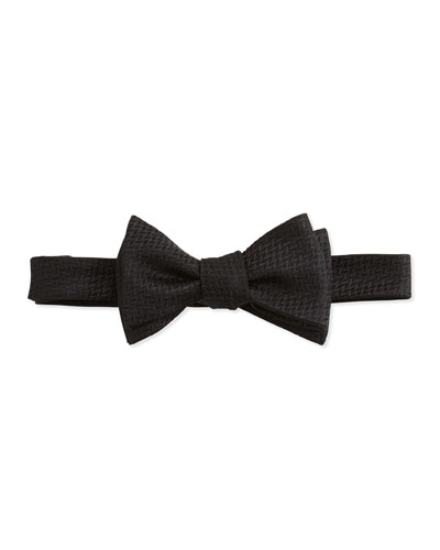 Textured Basket Weave Bow Tie, Black