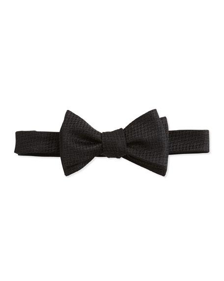 Neiman MarcusTextured Basket Weave Bow Tie, Black