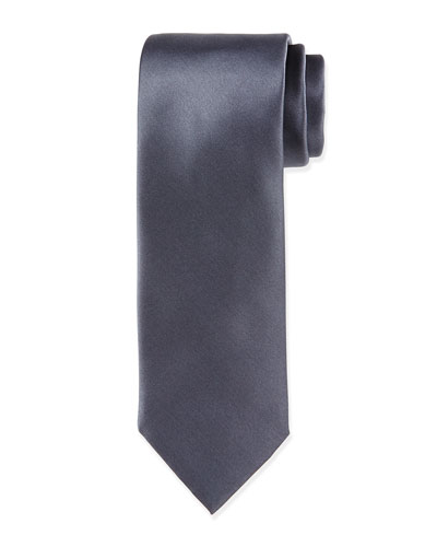 Solid Silk Satin Tie, Charcoal
